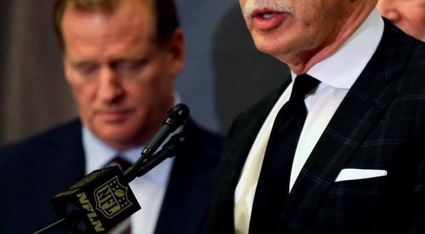 Stan Kroenke talks to the media after team owners voted Tuesday to allow the Rams to move to a new stadium just outside Los Angeles Photo: AP
