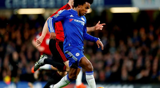 Chelsea's Willian in action at Stamford Bridge on Wednesday Photo: PA