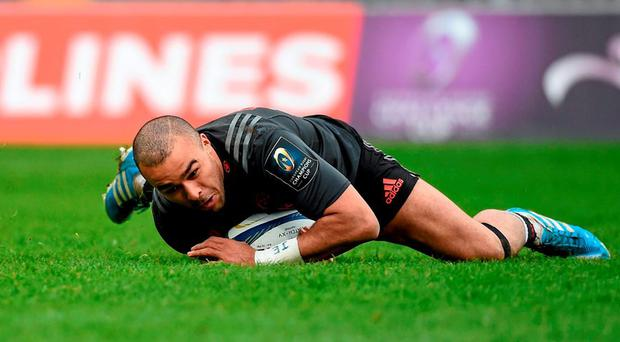 16 January 2016; Munster's Simon Zebo scores his side's third try of the match. European Rugby Champions Cup, Pool 4, Round 5, Munster v Stade Francais. Thomond Park, Limerick. Picture credit: Diarmuid Greene / SPORTSFILE