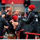 16 January 2016; Munster's Simon Zebo celebrates with team-mates after scoring his side's third try. European Rugby Champions Cup, Pool 4, Round 5, Munster v Stade Francais. Thomond Park, Limerick. Picture credit: Diarmuid Greene / SPORTSFILE
