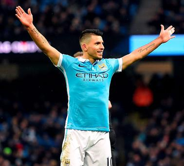 Sergio Aguero found the net twice for Manchester City against Crystal Palace. Photo: Martin Rickett/PA Wire