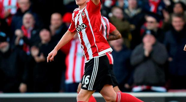 Southampton's James Ward-Prowse celebrates scoring his side's first goal of the game. Photo: Andrew Matthews/PA Wire