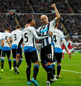 Georginio Wijnaldum celebrates scoring the second goal for Newcastle United with Jonjo Shelvey. Photo: Lee Smith / Action Images via Reuters