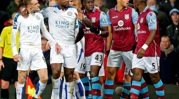 Leicester's Jamie Vardy is held back after clashing with Aston Villa's Leandro Bacuna (not pictured) Photo: Action Images via Reuters / Carl Recine