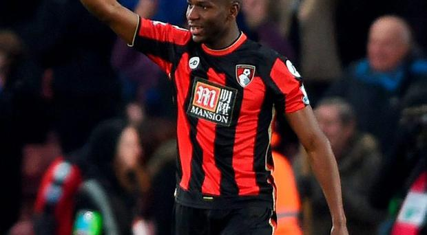 AFC Bournemouth's Benik Afobe celebrates scoring their third goal. Photo: Daniel Hambury/PA Wire