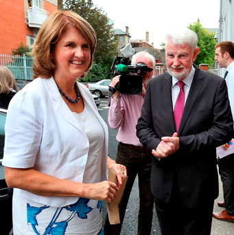 APPOINTMENT: Joan Burton with newly-appointed Pensions Authority Chair David Begg. Photo: Steve Humphreys