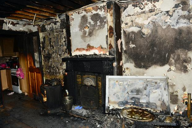 Vincent and Catherine Devine's Ballsgrove home which was completely destroyed when two devices were thrown through the window overnight. Picture: Ciara Wilkinson.