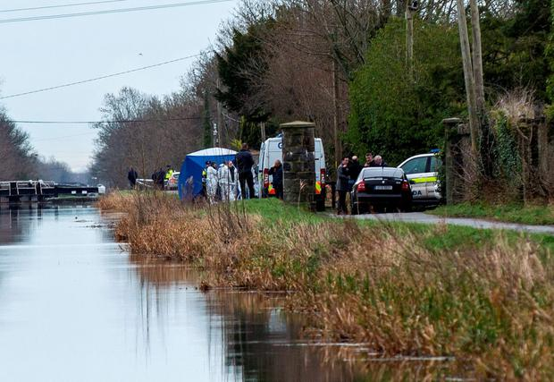 Gardaí at scene where body was recovered from canal Photo: Douglas O'Connor