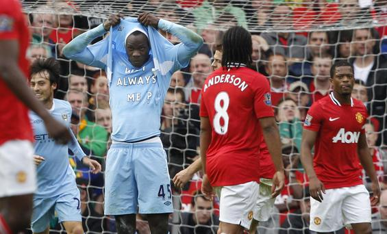 Mario Balotelli infamous celebration at Old Trafford in October, 2011.