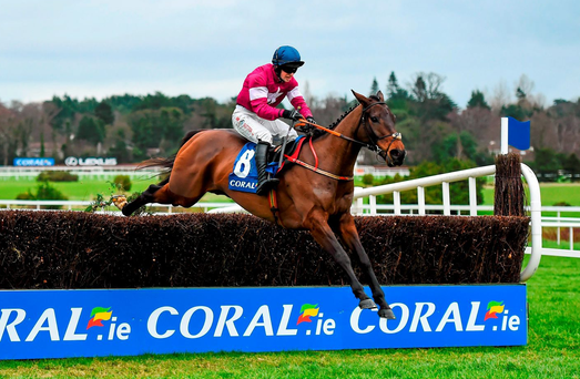 Empire Of Dirt, with Jonathan Moore up, jumps the last on their way to winning the Coral.ie Leopardstown Handicap Steeplechase at Leopardstown Racecourse. Stephen McCarthy / SPORTSFILE