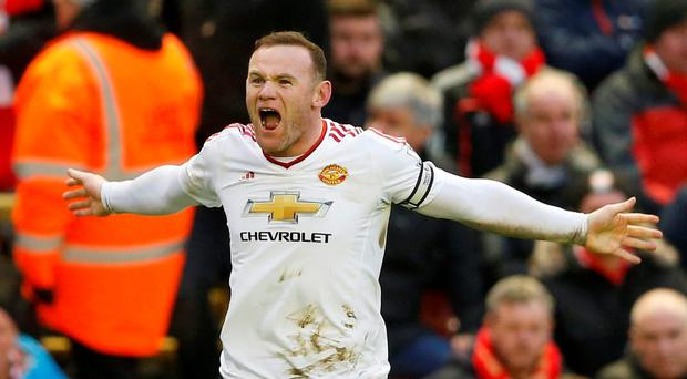 Manchester United's Wayne Rooney celebrates scoring their first goal Action Images via Reuters / Carl Recine