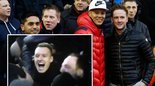 Phil Jones joined the away fans in the Anfield stand