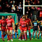 Toulon's players celebrate after Australian wing Drew Mitchell scored the winning try