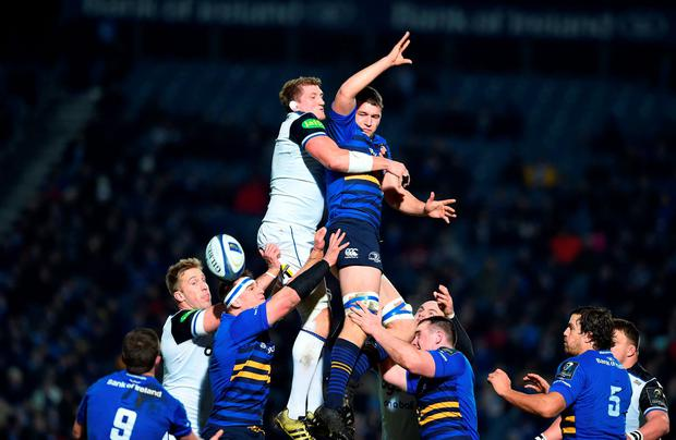 Leinster's Man of the Match Ross Molony, right, and Stuart Hooper, left, of Bath in action at the RDS arena. Photo: Charles McQuillan/Getty Images.