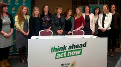 Green Party election candidates (l-r): Margaret Sheehan, Mayo; Paula Flanagan, Donegal; Caroline Conroy, Dublin North-West; Cllr Catherine Martin, Dublin, Rathdown; Grace O'Sullivan, Waterford; Ann Walsh, Wexford; Lorna Bogue, Cork South Central; Sinead Moore, Laois; Suzanne McEneaney, Kildare South; Maebh Ní Fhallúin, Kildare North; and Mairéad Ní Chróinín, Galway East