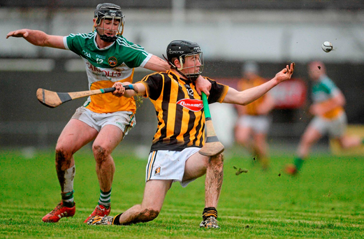 Kilkenny's Pat Lyng tries to escape the attention of Offaly's Jason Sampson during their Walsh Cup game in Birr. Picture credit: Piaras Ó Mídheach / Sportsfile