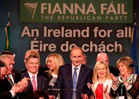 Fianna Fáil leader Micheál Martin with party members Terry Leyden, Sean Fleming, Jennifer Cuffe, Lorraine Clifford-Lee and Mary Butler after delivering his address at the close of the 77th Fianna Fáil Árd Fheis in the CityWest Hotel, Dublin. Photo: Laura Hutton/Collins Photo Agency