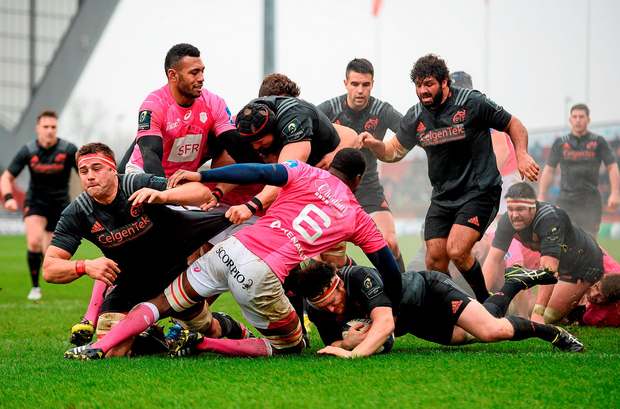 Munster's Mike Sherry goes over to score his side's first try of the European Rugby Champions Cup clash against Stade Francais. Photo: Diarmuid Greene / SPORTSFILE