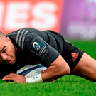 Munster's Simon Zebo scores his side's third try in his team's European Rugby Champions Cup clash against Stade Francais. Photo: Diarmuid Greene / SPORTSFILE