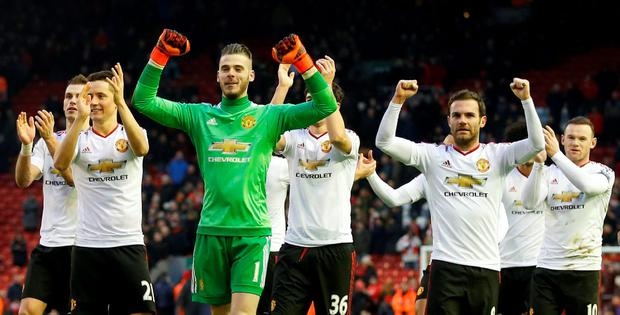 David De Gea leads the Manchester United celebrations at full time. Photo: Reuters