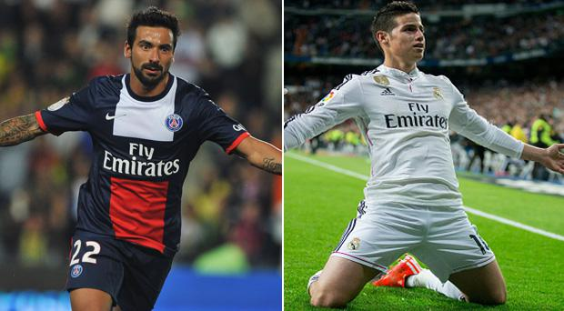 Manchester United are reportedly keen on signing Paris Saint-Germain forward Ezequiel Lavezzi and Real Madrid star James Rodriguez