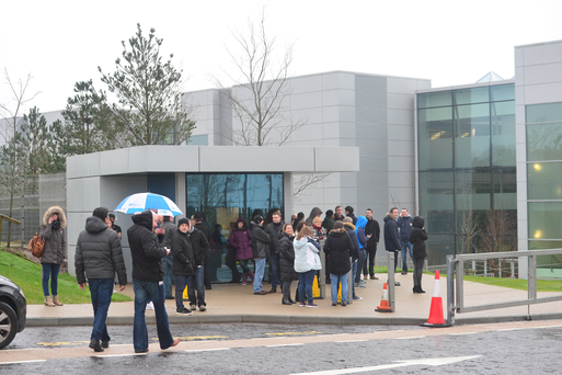 Apple employees outside Hollyhill site in Cork Credit: Provision