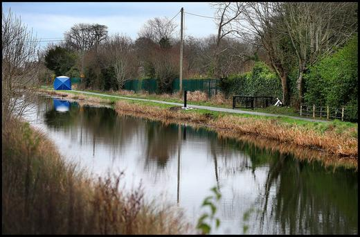 The banks of the canal at Ardclough where the remains of body was found. Pic Steve Humphreys