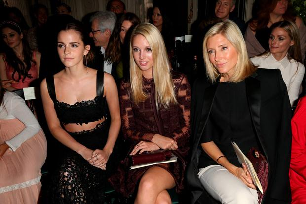 PARIS, FRANCE - JULY 09: Emma Watson, Princess Maria Olympia of Grece, Princess Marie Chantal of Grece attend at Valentino show as part of Paris Fashion Week - Haute Couture Fall/Winter 2014-2015 at Hotel Salomon de Rothschild on July 9, 2014 in Paris, France. (Photo by Michel Dufour/WireImage)