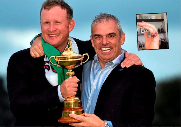 Jamie Donaldson with Paul McGinley after Ryder Cup win and (inset) his severed finger