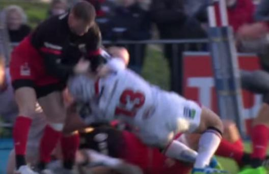 Chris Ahston slings Luke Marshall to the ground after appearing to make contact with the Ulster centre's face