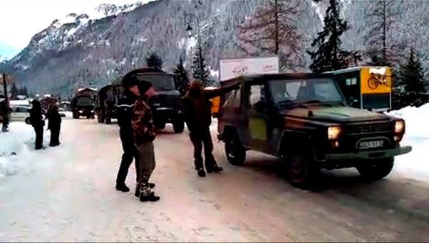 An image grab taken from a video released by Le Dauphine shows French troops near the site of an avalanche that killed five French Foreign Legionnaires near the resort of Valfrejus in the French Alps on January 18, 2016