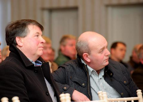 Seamus Quinn and Tom McCrory at the Donegal IFA Sheep Meeting and county executive last week. Photo: Clive Wasson