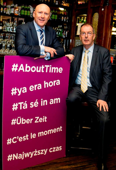 Donal O'Keeffe and Padraig Cribben, chief executives of the LVA and VFI, in Kehoe's on South Anne Street, Dublin launching the #AboutTime campaign Photo: Johnny Bambury / Fennell Photography