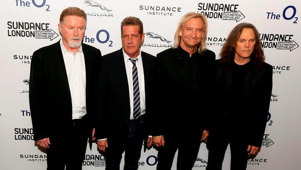 Members of the band The Eagles (L - R) Don Henley, Glenn Frey, Joe Walsh and Timothy B. Schmit attend the premiere of the film