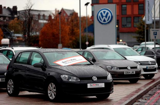 Volkswagen cars are seen parked outside a VW dealership in London. Photo: Reuters