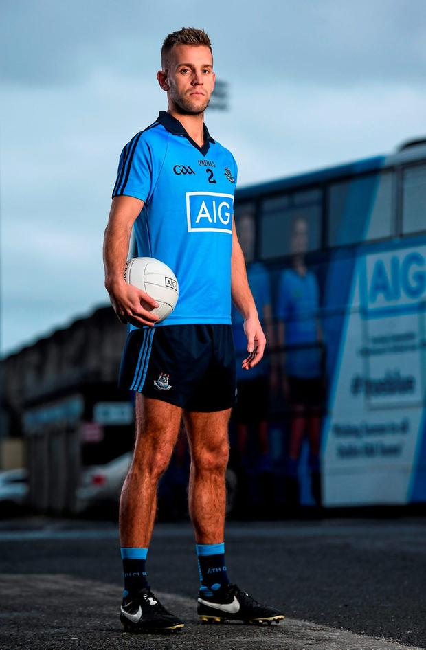 Jonny Cooper at Parnell Park yesterday to help announce a 47% discount on home-insurance offer to new AIG customers.