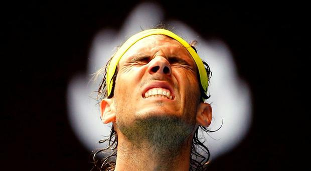 Spain's Rafael Nadal reacts during his first round match against Spain's Fernando Verdasco