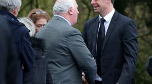 Niall Quinn is offered condolences at the funeral of his father Billy Quinn at St Marys Church, Killenaule, Co. Tipperary. Picture credit; Damien Eagers 19/1/2016