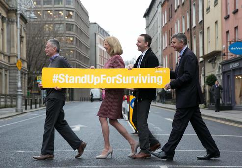 Colm Carey, Dr Claire Hayes, Clinical Director at Aware, Niall Jones and Dominic Layden, CEO at Aware Credit: Shane O'Neill Photography