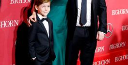 Jacob Tremblay and Brie Larson, who play the lead roles in 'Room', with director Lenny Abrahamson. REUTERS/Danny Moloshok
