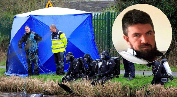 Gardai at the scene at the weekend, inset, the picture released of Mr Kenneth O'Brien