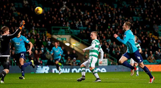 Celtic's Leigh Griffiths scores their seventh goal and completes his hat-trick Action Images via Reuters / Lee Smith