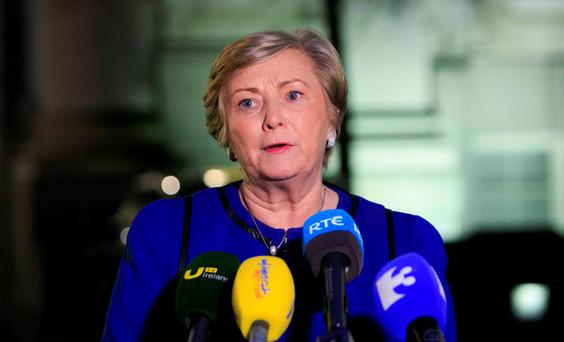 Justice Minister Frances Fitzgerlad speaks to the media at Government Buildings yesterday. Photo: Gareth Chaney