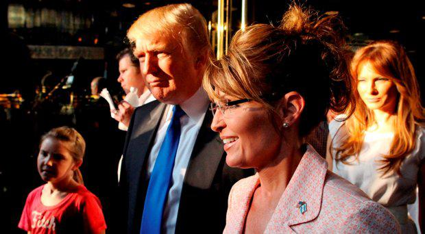 Donald Trump walks with former governor of Alaska Sarah Palin in New York City