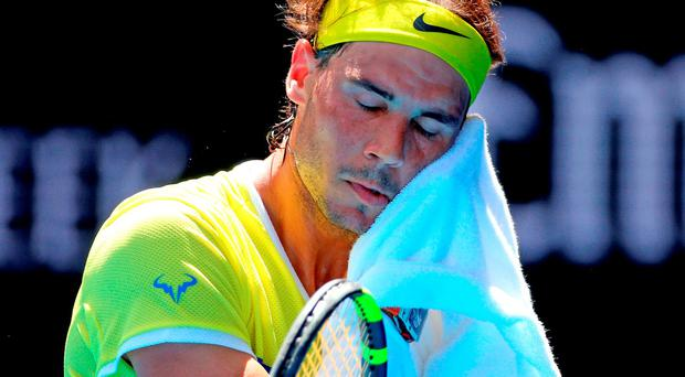 Rafael Nadal reacts in his first round match against Fernando Verdasco of Spain during day two of the 2016 Australian Open (Getty Images)