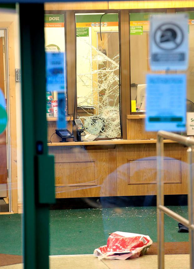 The damage done by shots fired in the post office at Woodbine Park, Blackrock (Brian McEvoy)