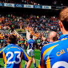 Back to the future? Wicklow players look on as Antrim captain Kevin Brady lifts the Tommy Murphy Cup in 2008 (SPORTSFILE)
