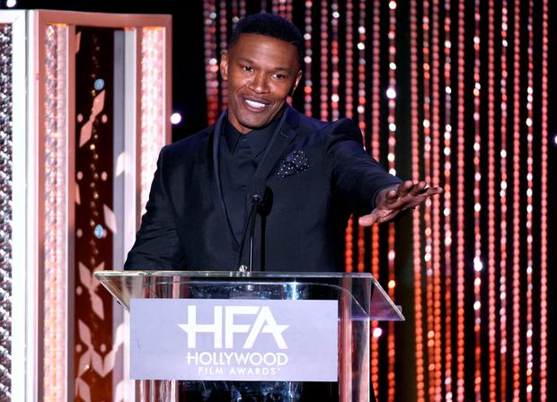 Jamie Foxx presents the Hollywood actor award at the Hollywood Film Awards at the Beverly Hilton Hotel in Beverly Hills, California. (Photo by Chris Pizzello/Invision/AP, File)