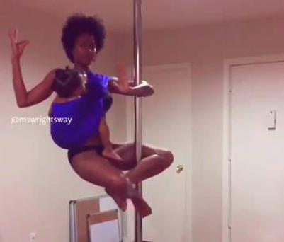 Ashley Wright pole dances and breastfeeds at the same time