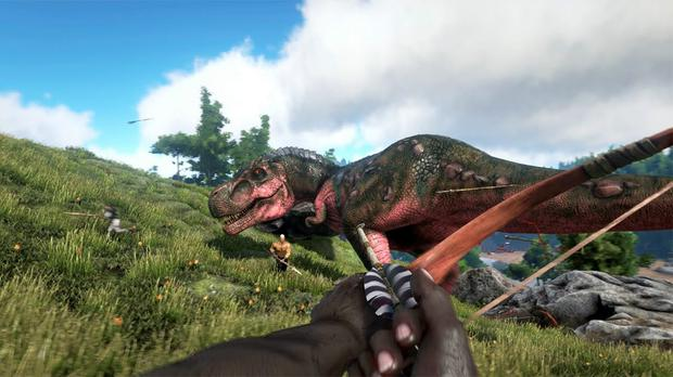 Ark: Survival Evolved - team up to take down a T-Rex